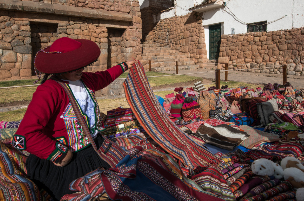 Souvernirs at Huilloc market in the Sacred Valley, Cusco