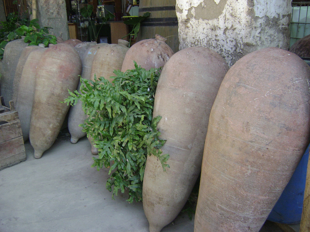 Clay jars known as piscos