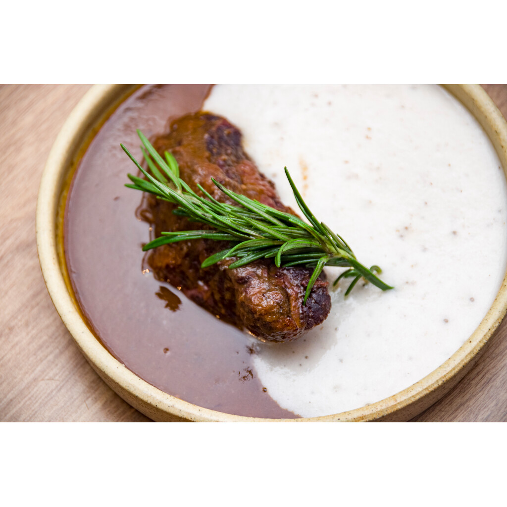 Beef cheek with puréed taro